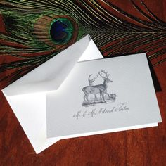 New to VeronicaFoleyDesign on Etsy: Wedding Thank You Notes deer thank you cards handmade wedding stationery bride and groom Folded thank you notes wedding (18.00 USD)