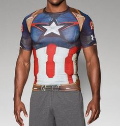 Fun Work Out Shirt-Men's Under Armour® Alter Ego Captain America Compression Shirt