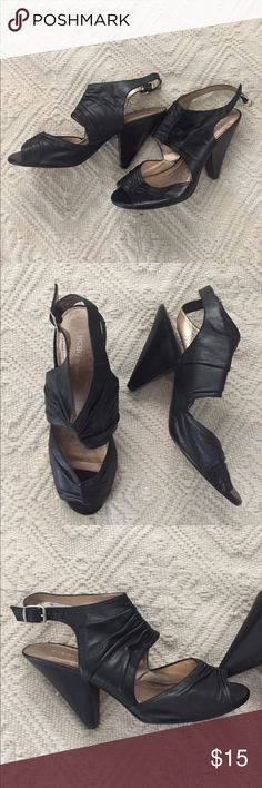 BCBG Leather Heels Super cute, stylish, gently worn, BCBG heels.  Great for dressy work outfits or casual paired with jeans.  4 in heel, smoke/pet free home. BCBGeneration Shoes Heels