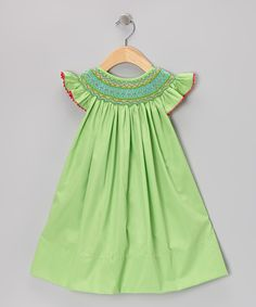 Green Geometric Angel-Sleeve Dress - Infant & Toddler | Daily deals for moms, babies and kids
