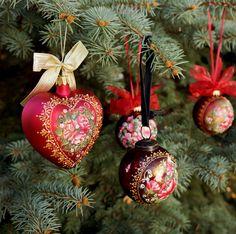 Рождественский орнамент Ручная роспись викторианской Розы по LaivaArt