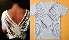 Sewing hacks clothes t shirts Ideas Diy Cut Shirts, Old T Shirts, T Shirt Diy, Diy Tshirt Ideas, Cut Tees, Cut Shirt Designs, Cut Up T Shirt, Diy Kleidung, Clothes Crafts