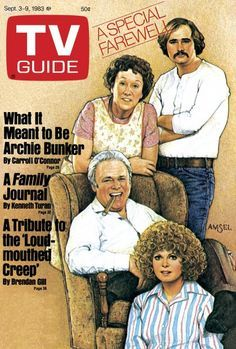 TV Guide September 3, 1983 - Jean Stapleton, Rob Reiner, Carroll O'Connor and Sally Struthers of All In The Family. Illustration by Richard Amsel.
