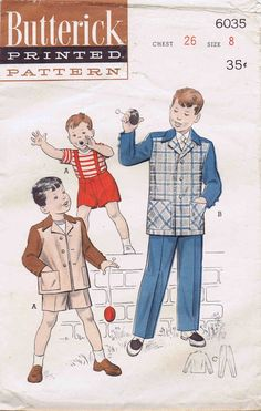 1950s Boys Box Jacket Suit Vintage Sewing Pattern by patternshop