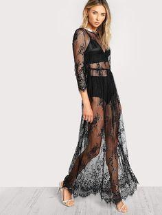 09a99411c4 Buttoned Split Back Sheer Floral Lace Dress