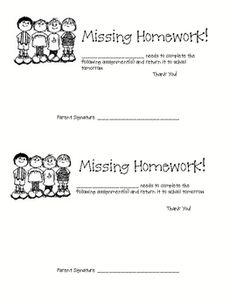 More, Please!: Printable Missing Homework Form | Beginning of the ...