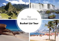 If you want to travel in South America and don't have ideas about how to plan your tour to visit the best of this continent, check out our South America Bucket List Tour http://news.southamerica.travel/south-america-bucket-list-tour/
