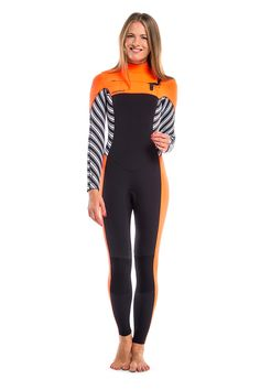 Warm 5 mm wetsuit for ladies. Lightweight S-Foam neoprene, GBS seams, thermo lining, chest zip, Supratex knee reinforcement.