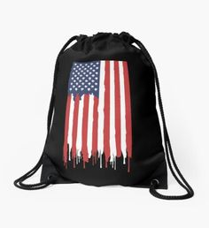 'These Colors Don't Run American Flag Shirt' Drawstring Bag by rbaaronmattie Backpack Bags, Drawstring Backpack, Flag Shirt, Woven Fabric, American Flag, Running, College, Wall Art, Stuff To Buy