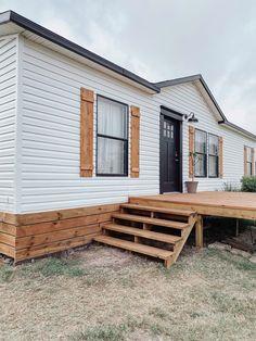 Mobile Home Redo, Mobile Home Porch, Mobile Home Exteriors, Mobile Home Renovations, Mobile Home Makeovers, Remodeling Mobile Homes, Home Upgrades, Home Remodeling, Porches On Mobile Homes