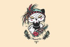 Flapper Cat Black Cat Ganbatte 20´s Illustration