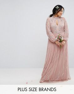 Stunning and sweet dress by Lovedrobe in a neutral lovely dusty pink.  High neck with a keyhole detail.  Long hem, long sleeves.  Beautiful formal dress that could be used for prom, wedding, bridesmaid.  Plus sizes available up to size 22.  {Afflink}