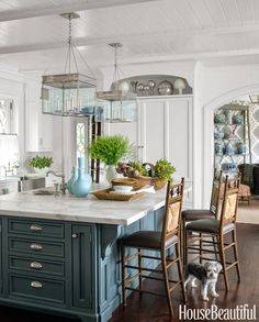 Blue Kitchen Island - Lee Ann Thornton Interiors----a gorgeous kitchen.  Island Paint Color: Farrow & Ball's Down Pipe