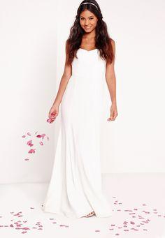 Missguided - Bridal Bandeau Maxi Dress White