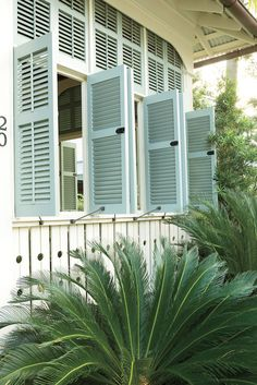 Carribean Style Exterior | Aqua blue plantation shutters