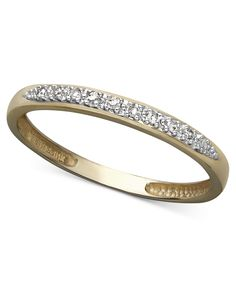 Sale $199 14k Gold Ring, Pave Diamond Accent Band - Rings - Jewelry & Watches - Macy's