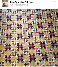 Jane is sharing her 4 patch X quilt from my book MORE Adventures with Leaders & Enders!  Yellow makes me happy! I also love how the sashings make the churn dashes appear between the blocks. Great quilt, Jane! Signed copies of books are available on my website at http://quiltville.com #quilt #quilting #patchwork #quiltville #bonniekhunter #quiltsbyyou