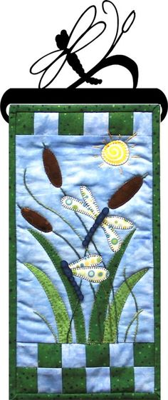 "Patch Abilities Dragonfly Garden Pattern, Topper, Stand to Order (6"" x 12"" mini quilt)"