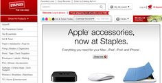 Staples is now selling Apple products  The retail chain's Web site now carries everything from iPhone and iPod accessories to Apple TVs and Time Capsules.