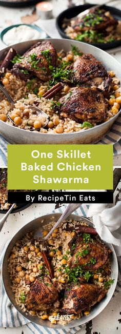 One skillet baked chicken shawarma and rice - two Middle Eastern favorites made in one skillet! Chicken shawarma with punchy flavors and a delicately fragrant rice pilaf with chickpeas Chicken Leg Recipes, Chicken Drumstick Recipes, Arabic Chicken Recipes, One Dish Dinners, One Pot Meals, Kid Meals, Baked Greek Chicken, Shawarma Recipe, Cooking Recipes