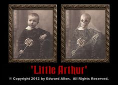 Spooky Halloween Changing Portrait. Little Aurthur Skeleton Changing Picture. Halloween Decorations. Based on an antique photo of a little boy that turns into a creepy skeleton. Like the changing pictures at DIsney World Haunted Mansion.