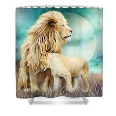 White Lion Family - Protection designer shower curtain with art by Carol Cavalaris.