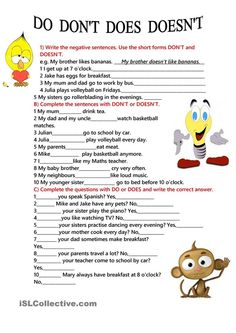 DO DOES, DON'T, DOESN'T worksheet - Free ESL printable worksheets made by teachers: