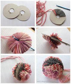 Pom Pom Crafts, Yarn Crafts, Felt Crafts, Paper Crafts, Diy Home Crafts, Diy Arts And Crafts, Diy For Kids, Crafts For Kids, Diy Broderie
