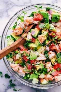 Avocado Shrimp Ceviche is made with so many fresh ingredients and so easy to make! This is always a hit ...