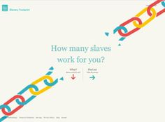 Find out how many slaves work for you! Take the survey at www.SlaveryFootprint.org