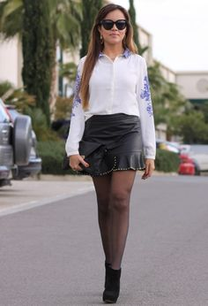 Falda cuero volantes Zara bfbe71f0ab0d