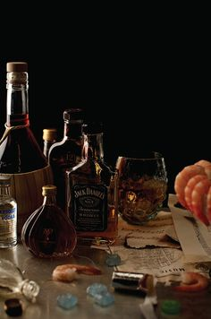 Henry Hargreaves's Photos of Famous Musicians' Riders - Frank Sinatra, One bottle each: Absolute, Jack Daniel's, Chivas Regal, Courvoisier, Beefeater Gin, white wine, red wine. Twenty-four chilled jumbo shrimp, Life Savers, cough drops. Prop Styling: Caitlin Levin