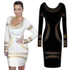 USD8.99Cheap Sexy O Neck Long Sleeves Bronzing Print Black Cotton Blend Sheath Mini Dress