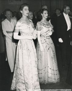 Princess Elizabeth and Princess Margaret at a reception, London, July 9, 1947