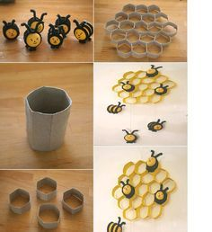 DIY Kinder Bees and Toilet Paper Roll Honeycomb - Adorable!