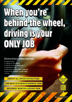 Workplace Safety Poster focussing on avoiding distractions while driving. Available as & in Australia and NZ (printed in Aus), and & in the USA and Canada (printed in US). Road Safety Quotes, Drive Safe Quotes, Road Safety Poster, Health And Safety Poster, Safety Posters, Safe Driving Tips, Driving Safety, Safety Tips, Safety Work