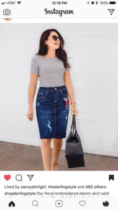 30 Gorgeous Denim Skirt Outfits Copy Right Now Jean Skirt Outfits, Casual Skirt Outfits, Modest Outfits, Modest Fashion, Skirt Fashion, Summer Outfits, Fashion Outfits, Jean Skirts, Denim Skirts