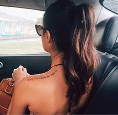 Love the placement ~ love light peace passion Phrase Tattoos, Spine Tattoos, Neue Tattoos, Shoulder Tattoos, Body Art Tattoos, Shoulder Tattoo Quotes, Tatoos, Hip Tattoo Quotes, Feminine Tattoos