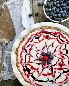 4th of July Dessert Recipe : Red, White, and Blueberry Ice Cream Pie with Granola Crust Recipe (gluten-free) by Best Friends For Frosting