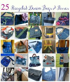 25 Denim Bags & Purses Made From Recycled Jeans - - 25 Recyled Denim Jean Bags and Purse Tutorials by Between Naps on the Porch Artisanats Denim, Denim Purse, Jean Crafts, Denim Crafts, Jean Diy, Purse Tutorial, Denim Bag Tutorial, Denim Ideas, Old Jeans