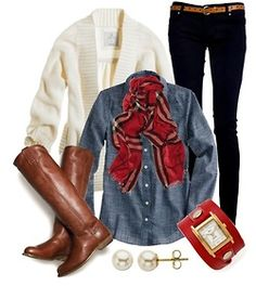 Need: white cardigen, plaid sweater, red braclet/ watch