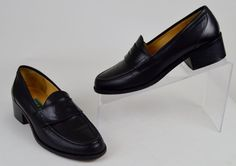Cole Haan Women's Shoes Size 5.5 B Solid Black Leather Penny Loafer Heels  #ColeHaan #PumpsClassics #WeartoWork