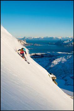 Kaylin Richardson skiing in the Lofoten Islands, Norway for an upcoming 2014 feature film from Warren Miller. Photo By Sverre Hjornevik #lofoten #norway #skiing