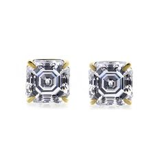 3.50 ct D/ VVS1 Asscher Cut 14k Yellow Gold Stud Earrings with Screw Back #diamantjewels #Stud #Christmas