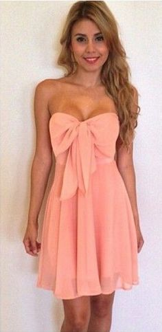Bow Front Pleated Solid Pink Dress