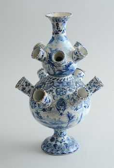 DUTCH DELFT BLUE AND WHITE DOUBLE GOURD-FORM TULIPIERRE -  Each tier with six floral holders, with water views. 15 x 9 3/4 in.