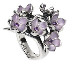 Shaun Leane's beautiful Cherry Blossom Collection, the hoop earrings are to die for too. And for Favorite choice #37, a sterling silver, enamel and amethyst cherry blossom ring, It comes in pink with pearls too!