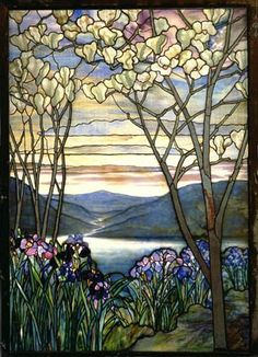 Lovely Tiffany Studios floral landscape window. E. 20th century.
