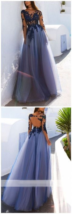 Sexy See Through Blue Lace Long Sleeve Open Back Custom Long Evening Prom Dresses