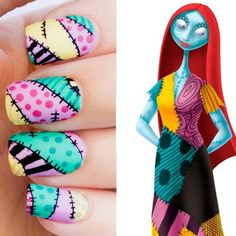Nail Art Source Instagram - Nightmare Before Christmas/Sally Inspired Nail Art…